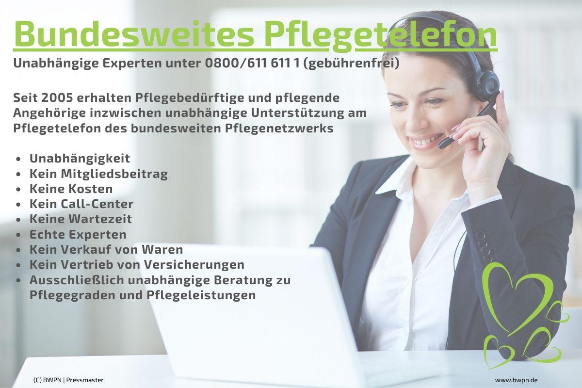 Bundesweites Pflegetelefon (0800/6116111)