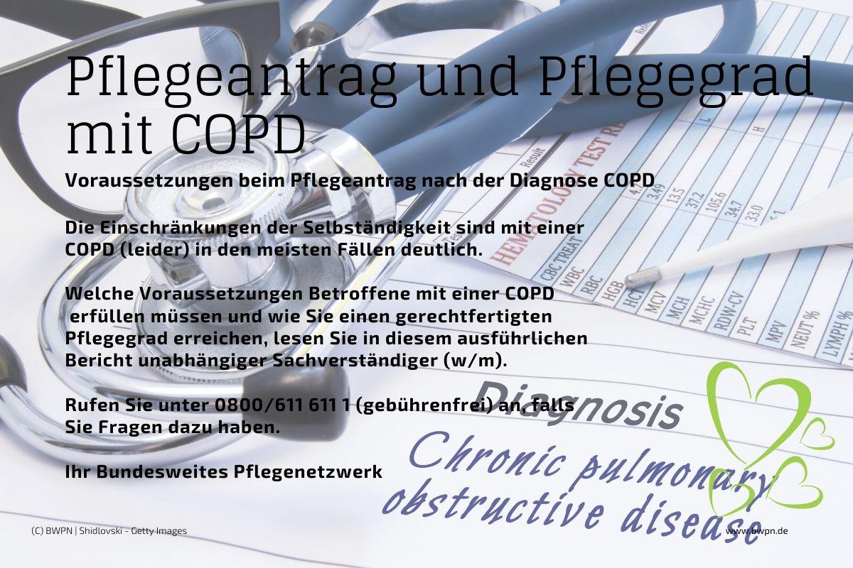 Pflegeantrag und Pflegegrad nach der Diagnose COPD