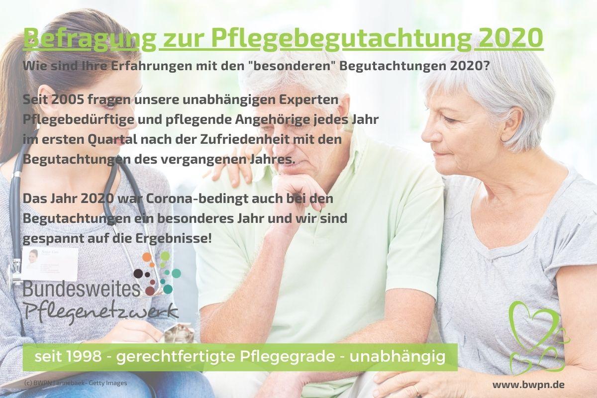 Befragung zur Pflegebegutachtung 2020 durch BWPN