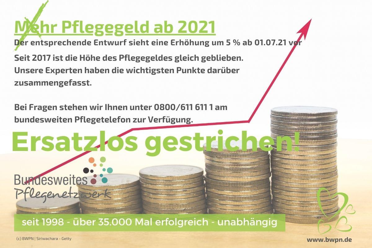 Mehr Pflegegeld ab 2021